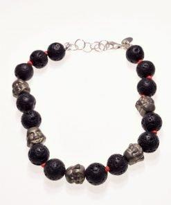 Bracciale lava e viso buddha, argento, Shadow red