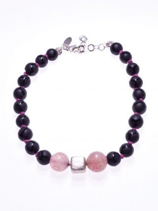 Bracciale nero e rosa, onice, argento, Shadow rosa