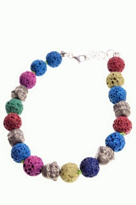 Bracciale buddha, lava multicolor, argento