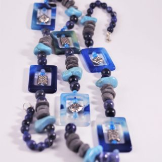 collanan lunga P.blu agata, argento corno, pietre dure e argento