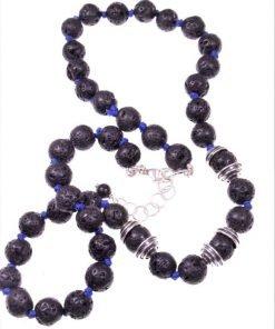 Girocollo lava, argento, filo blu Girocollo di lava nera dm.8 mm., coppette argento, chiusura a moschettone Ag. 925, girocollo uomo urban,