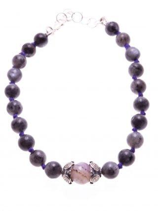 Bracciale grigio, pietre dure, argento anticato, Shadow viola