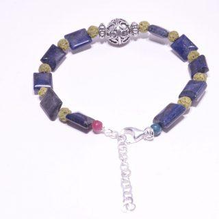 Bracciale pietre dure, lapislazzuli, lava, argento Bali, Pblu
