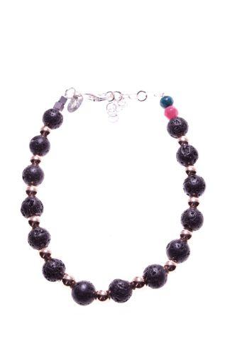 Bracciale lava e ematite rosa, argento, Urban-black