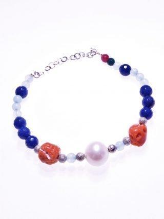 Bracciale perla, corallo, argento, P.blu, agata e giada blu bracciale pietre dure, perla, corallo rosso del mediterraneo, giada, agata, chiusura argento