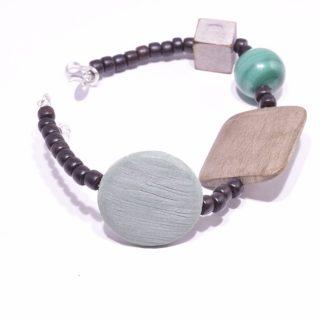 bracciale con pietre dure, malachite, legno, argento.