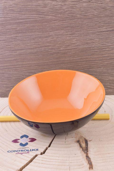 Ciotola tonda corno di bufalo, lacca arancio, Vietnam