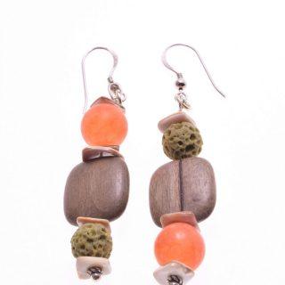 Orecchini legno, pietre dure verde arancio, argento Orecchini a pompeiana in argento 925, legno quadrato, agata opaca arancio, lava verde.