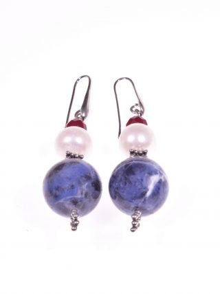 Orecchini Profondo-blu, perla, sodalite, giada argento pietre dure