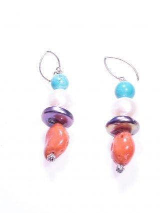 Orecchini perla, corallo, turchese, argento pietre dure