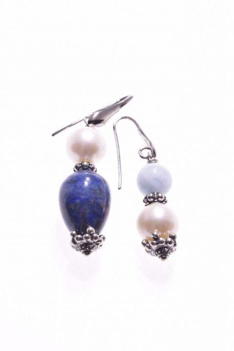 Orecchini perle e pietre dure, argento, acquamarina, lapis, P.blu grande goccia di lapislazzuli, 2 grandi perle coltivate sferiche, acquamarina. orecchini a pompeiana pendenti.