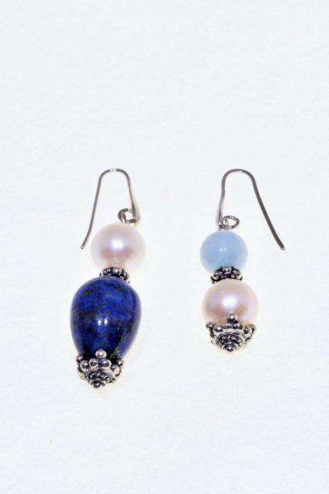 Orecchini Profondo-blu, perla, acquamarina, lapislazzuli Ag. 925 grande goccia di lapislazzuli, 2 grandi perle coltivate sferiche, acquamarina.