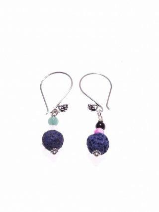 Orecchini pietre dure, lava blu ematite, argento, Milla orecchini pendenti con montatura pompeiana e decoro floreale in argento anticato, lava blu e agata multicolor