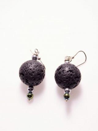 Orecchini lava nera, ematite, Argento urban-black