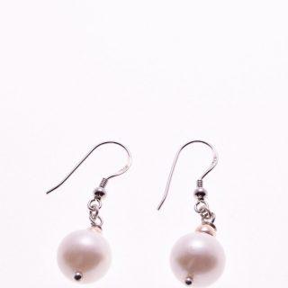 Orecchini pendenti perle, argento, ematite rosa, P.blu Orecchini a pompeiana in argento 925 con perla coltivata in acqua dolce , sfere di ematite rosa