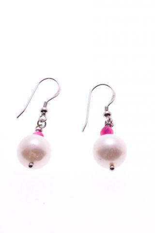 Orecchini pendenti perle, argento, agata fucsia, P.blu Orecchini a pompeiana in argento 925 con preziosa perla tonda e piccole sfere di giada sfaccettata fucsia