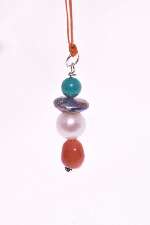 Ciondolo pietre dure, perla, corallo, turchese, argento P.blu