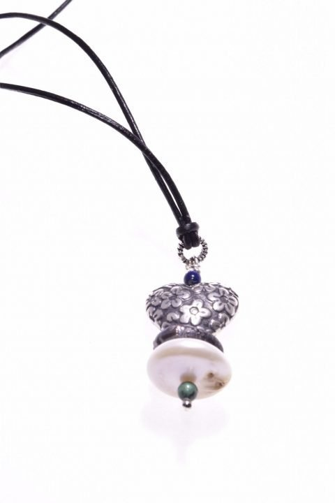 Ciondolo pietre dure, madreperla, cuore argento Bali, Shadow