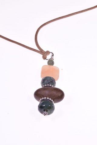 Pendente Natural, pietra di luna, legno, Argento 925 Pendente con anello, divisori e terminale in argento 925, pietra di luna, agata e giada, legno. pietre dure