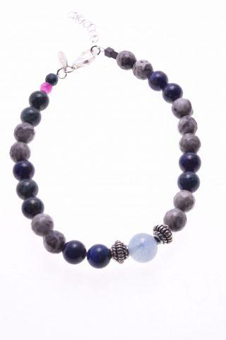 Bracciale lapislazzuli, argento, blu e grigio, Shadow