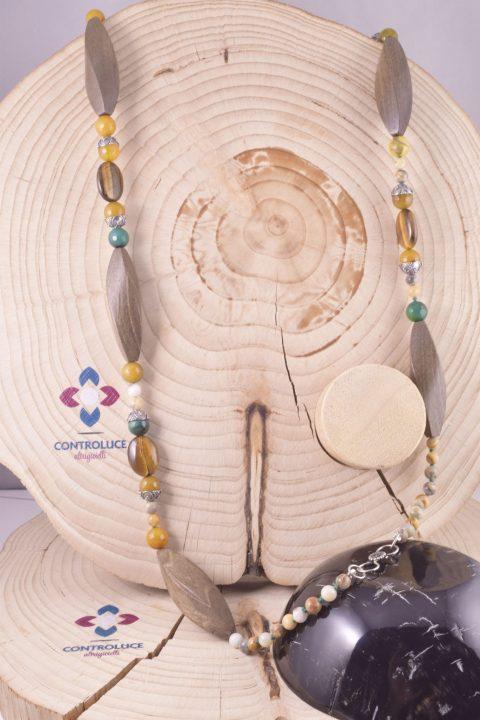 Collana Natural occhio di tigre, legno 92cm.