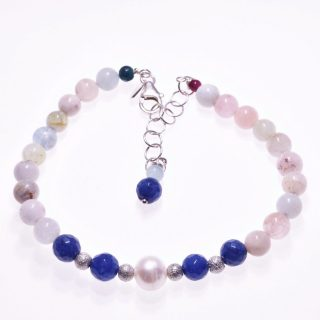 Bracciale perla, pietre dure, quarzo, giada, argento, P.blu bracciale pietre dure di quarzo trasparente e giada blu, sfere d'argento diamantato, bella perla sferica coltivata in acqua dolce