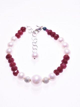 Bracciale perle, pietre dure rosse, argento, P.blu giada