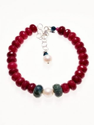 "Bracciale perla, giada rubellite, argento P.blu pietre dure Bracciale con giada ""rubellite"" sfaccettata, perla coltivata diametro 8 mm. ed agata indiana"