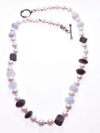 Girocollo perle, acquamarina, corno, argento, P.blu