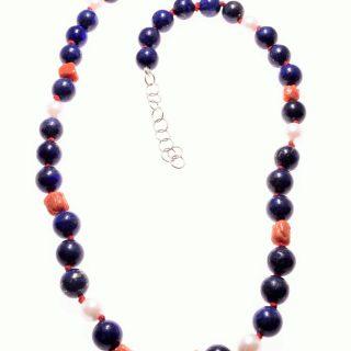 Girocollo perle e corallo, lapislazzuli, argento, P.blu