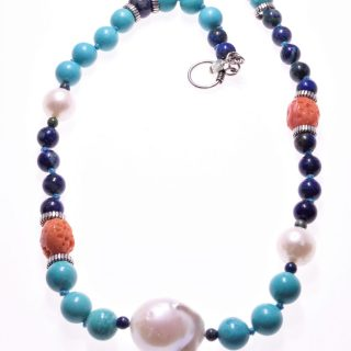 Girocollo perle, lapislazzuli e turchese, argento, P.blu