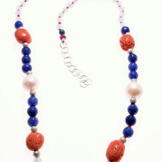 Girocollo perle, corallo, pietre dure, argento, P.blu acquamarina