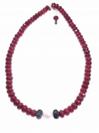 Girocollo pietre dure, perla, giada, agata, argento P.blu