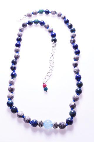 Girocollo pietre dure, blu azzurro, lapis, argento, lago