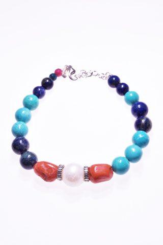 Bracciale perla corallo, pietre dure, argento P.blu turchese Bracciale con lapislazzuli,turchese,perla, corallo del mediterraneo,argento