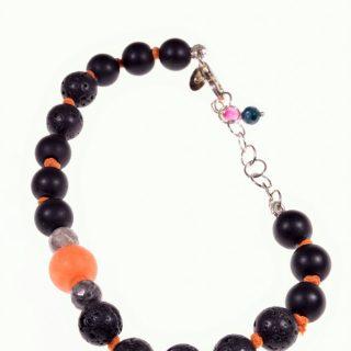 Bracciale pietre dure, lava, agata, onice argento, Shadow Bracciale color neroe arancio con lava ,onice, agata fossile e agata arancione. Chiusura e catena in argento 925
