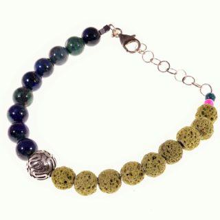 Bracciale pietre dure, lapislazzuli, lava, argento Bali, Shadow