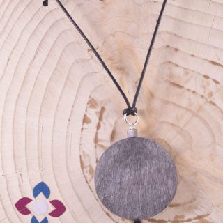 Pendente corno di bufalo, perla, argento, Natural