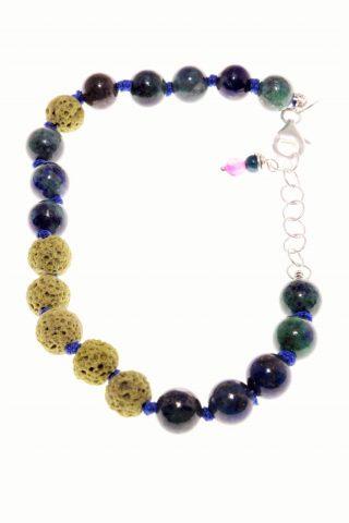 Bracciale pietre dure, lava verde, lapislazzuli, argento, Shadow, bracciale morbido con filo cotone blu, lava verde, lapislazzuli blu-verde, chiusura argento
