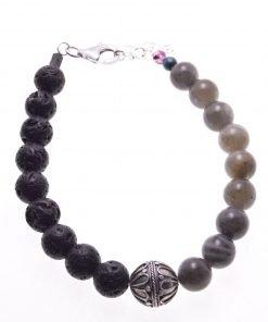Bracciale pietre dure, lava labradorite, argento Bali, Shadow