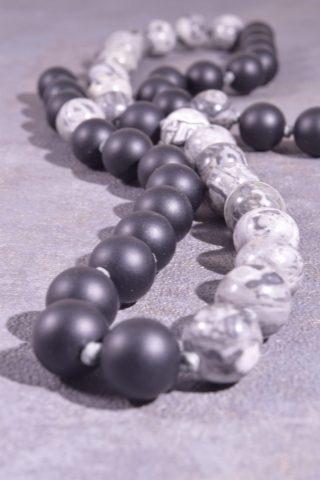 Collana lunga uomo, pietre dure, nero grigia, 60