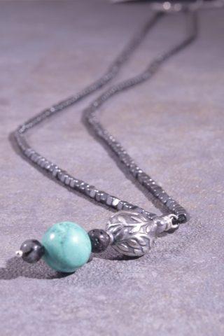 Collana lunga uomo, ematite, turchese, bead argento 60