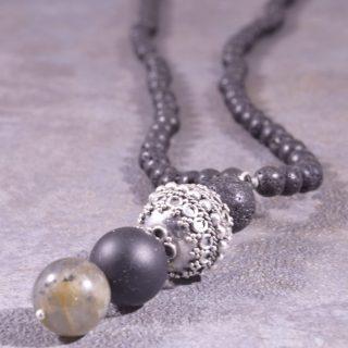 Collana lunga uomo, lava nera, bead Bali argento 60