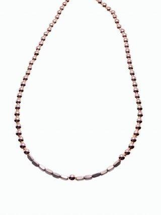 Girocollo ematite rosé e grigia, argento, pietre dure, Milla