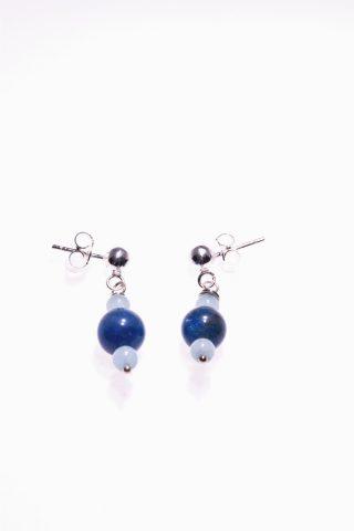 Orecchini pietre dure, blu azzurre, argento, Shadow