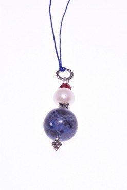 Ciondolo pietre dure, perla, sodalite, argento, P.blu