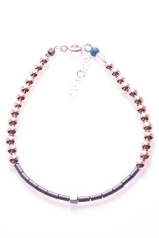 Bracciale pietre dure, ematite rosé e nera, cubo, argento