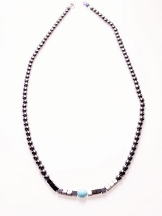 Girocollo pietre dure, ematite nera, turchese, argento