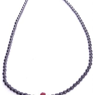 Girocollo Milla, ematite nera, rubellite, argento 925