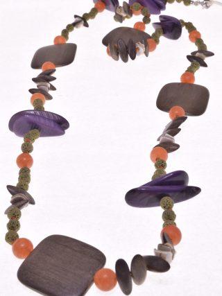 Collana Natural lava, tagua, legno 100 cm.
